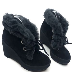 Robert Clergerie Fur Black Suede Ankle Boots Wedge